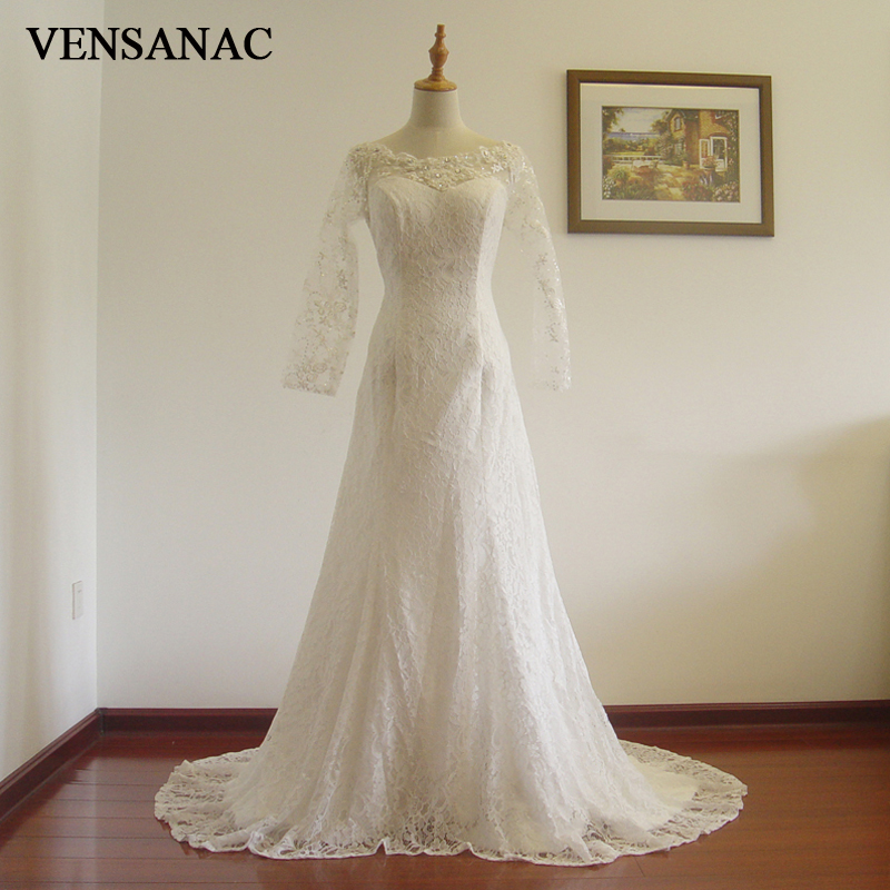 VENSANAC 2017 Ny Mermaid Sequined Boat Neck Full Sleeve Court Train White Satin Bridal Bröllopsklänning Bröllopsklänning 30517