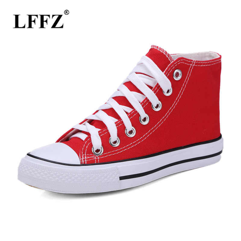Lzzf vulcanize casual flats summer shoes women lace up unisex walking shoes  canvas shoes high top b1b8bbb53ef6