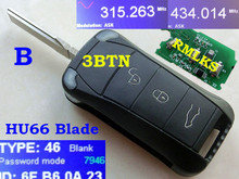 RMLKS New Uncut Remote Key 3 Button 315 433MHz ID46 PCF7946AT Chip HU66 Blade Fit For