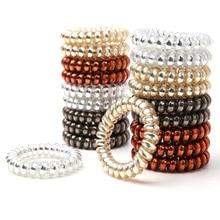 20pcs/lot 4 Colors Metal Punk Telephone Wire Hair Band Good Quality Girl 4.5cm Rubber Elastic Ponytail Holder Bracelet