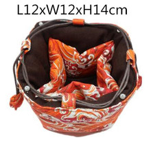 Thicken Wave Large 5 Grid Linen Cloth Bag Drawstring Travel Portable Jewelry Bags Pouch Small Tea Pot 4 Cup Storage