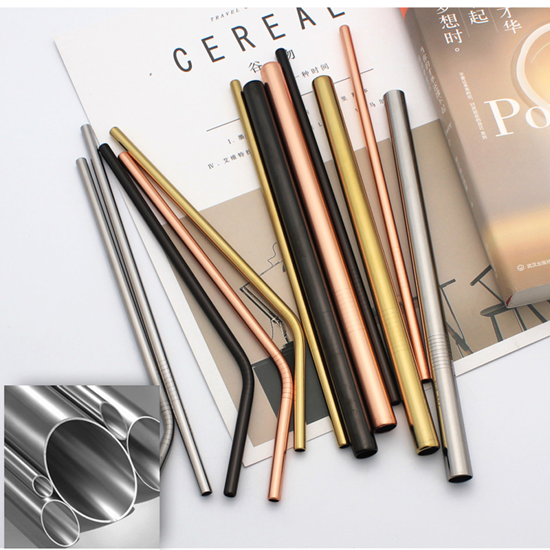 100Pcs Reusable Stainless Steel Drinking Straw with Clean Brush Cocktail Yerba Mate Metal Straws for Juice