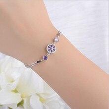 LUKENI New Fashion 925 Sterling Silver Bracelets Jewelry Charm Purple Crystal Flower Anklets For Girl Lady Birthday