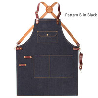 Black Blue Denim Long Apron Leather Strap Barber Hairdresser Florist Carpenter Uniform Barista Bartender Culinary Work Wear K80
