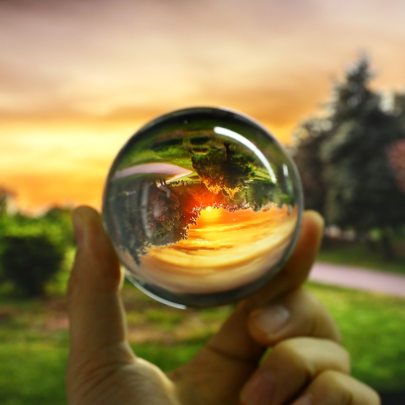 Artificial Glass Clear Crystal Ball 80mm Magic Healing Sphere Globe Photography Balls Background Sphere Craft Decor Lens Prop