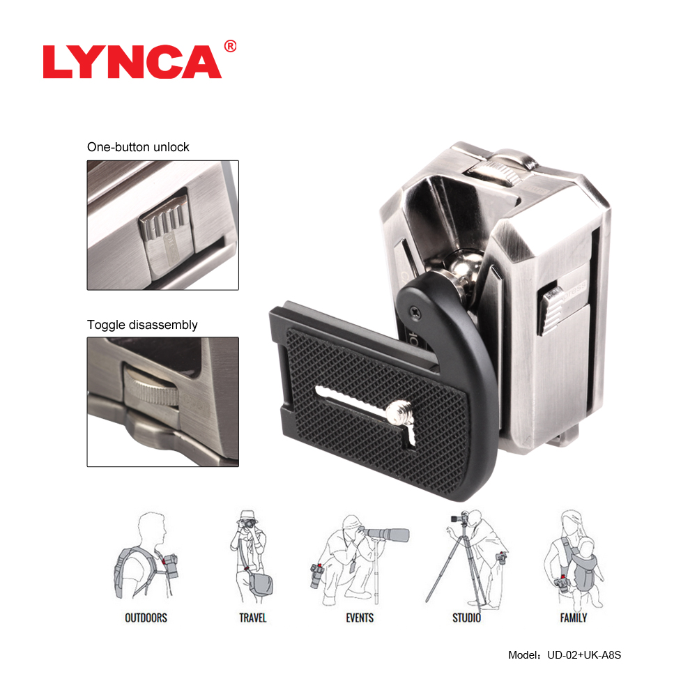 LYNCA Quick Release Waist Belt Buckle Clip Holster Hanger Button Mount Clip Camera For Sony Canon