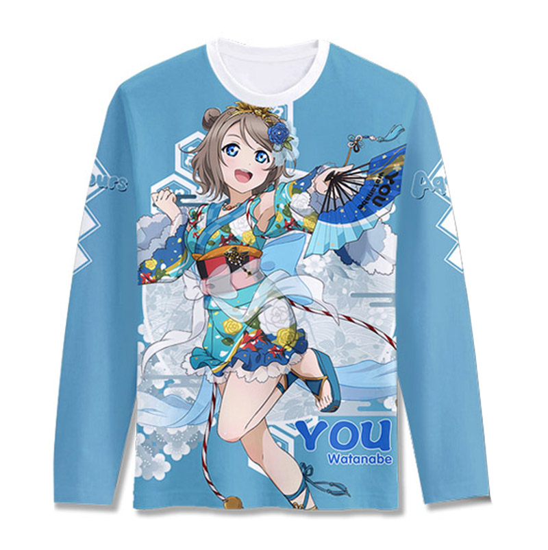 Love Live Sunshine Aqours Yukata Awaken Printed T-shirt Cosplay Costume Kurosawa Ruby Tsushima Yoshiko Long Sleeve Tee Shirt