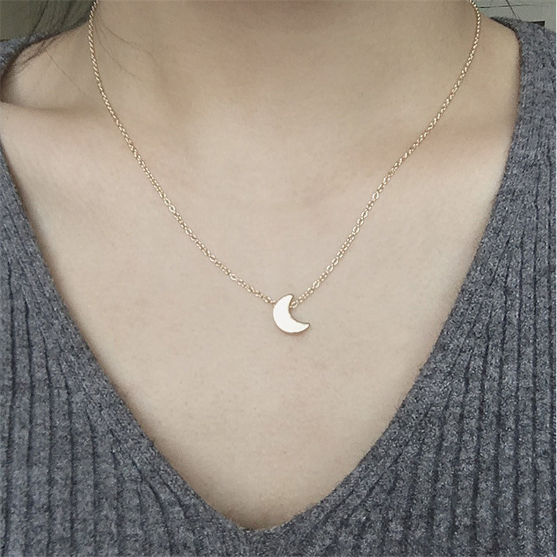 Simple Gold/Silver Plated Moon Necklace Pendant Chain For Women Accesorios Mujer Joyeria Mujer Colar New Fashion Jewelry Gift