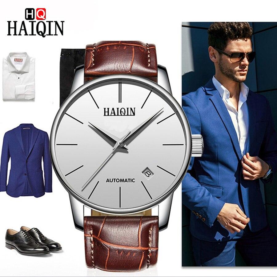 HAIQIN 2018 الأزياء ووتش الرجال اللباس رجالي الساعات العلامة التجارية الأعلى التلقائي/الميكانيكية الرجال ووتش توربيون للماء الذكور ساعة اليد-في الساعات الميكانيكية من ساعات اليد على  مجموعة 1