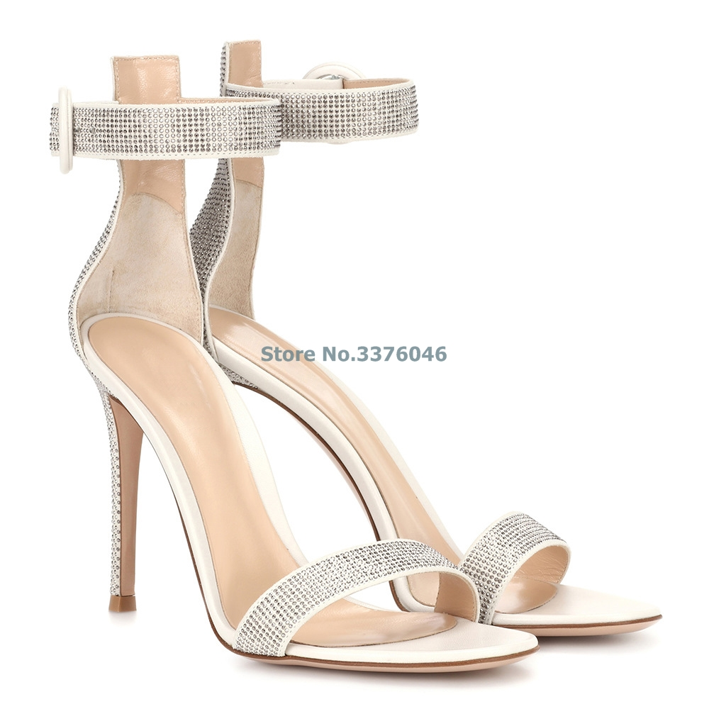 Open Toe Single Strap Thin High Heel Sandals Off White Bling Bling Crystal Ankle Buckle Strap Summer Shoes Elegant Party Shoe   Open Toe Single Strap Thin High Heel Sandals Off White Bling Bling Crystal Ankle Buckle Strap Summer Shoes Elegant Party Shoe