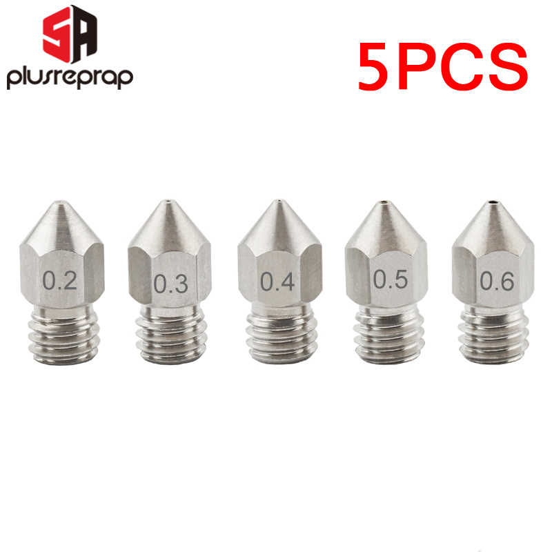 5 Pcs MK8 Nozzle 0.2 Mm 0.3 Mm 0.4 Mm 0.5 Mm 0.6 Mm M6 Ulir Stainless Steel untuk 1.75 MM Filamen 3D Printer Extruder Print Head