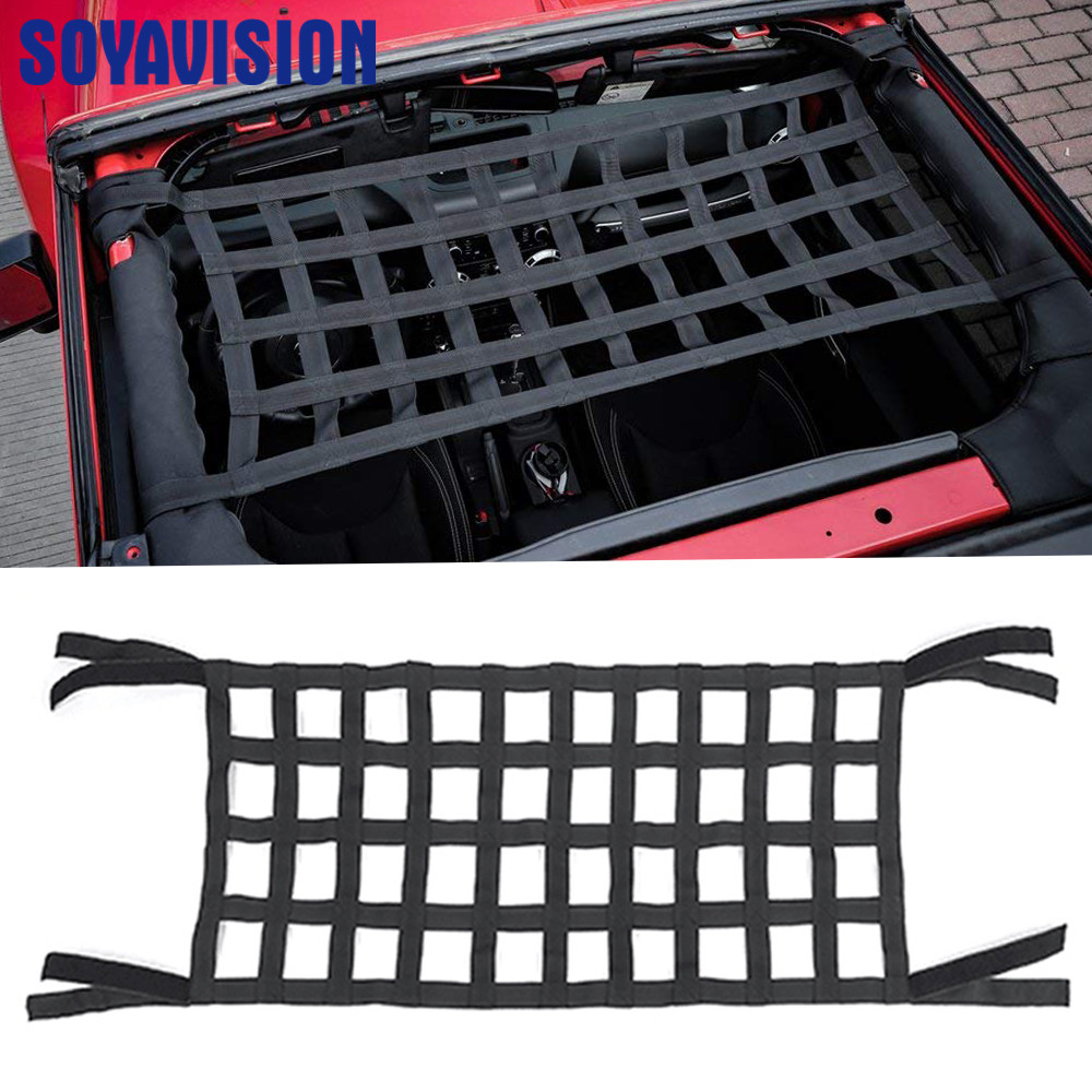 Image 5 - Black Heavy Duty Cargo Net Cover For Jeep Wrangler TJ JK 07 18 Multifunctional Top Roof Storage Hammock Bed Rest Network Cover-in Rear Racks & Accessories from Automobiles & Motorcycles