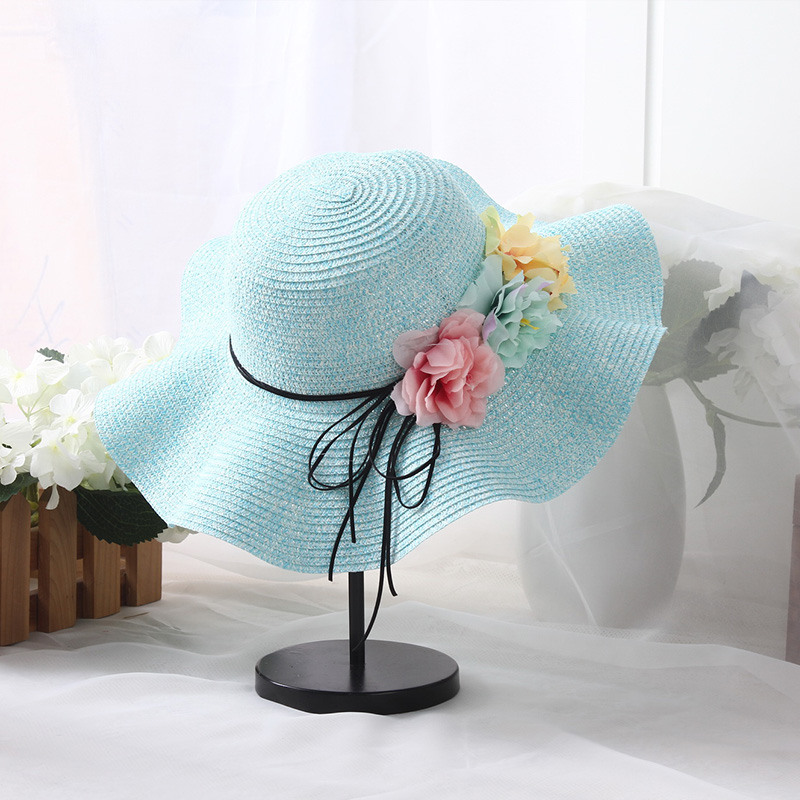 b8352015413 Detail Feedback Questions about Summer Hat Sun Hats For Women Flowers Decro  Wave Wide Brim UV Protection Girls Foldable Chapeau Femme Beach Hats on ...