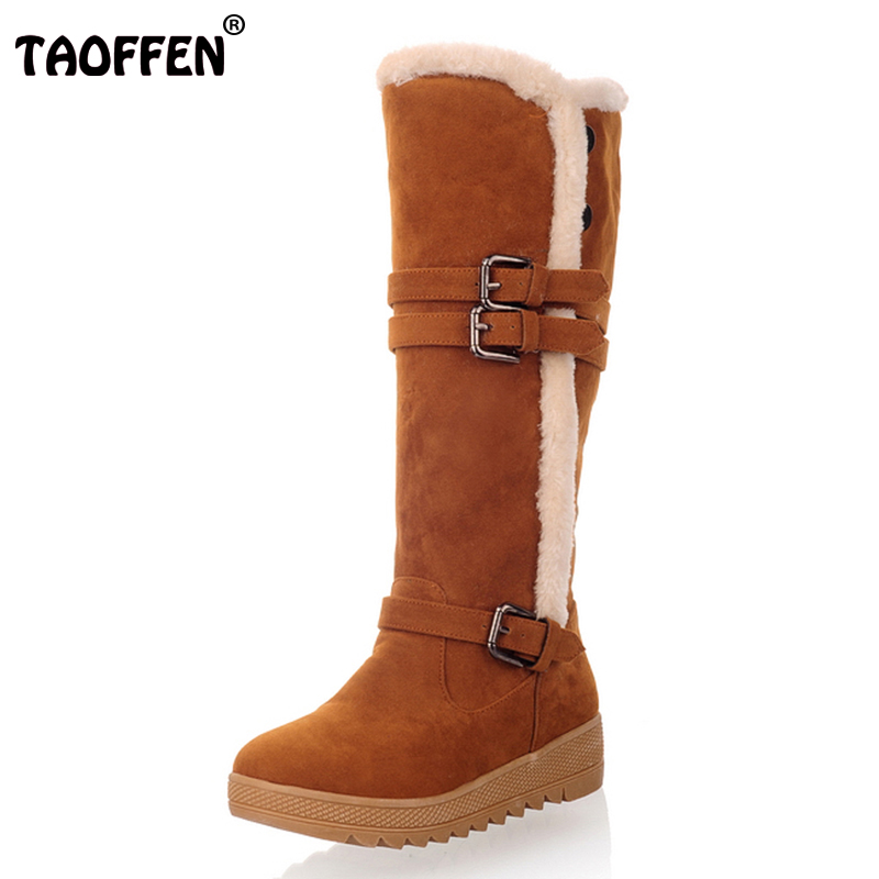 TAOFFEN Winter Shoes Women Warm Fur Inside Knee High Snow Boots Women Buckle Strap Thick Platfrom Gladiator Botas Size 34-43 faux fur buckle knee high snow boots