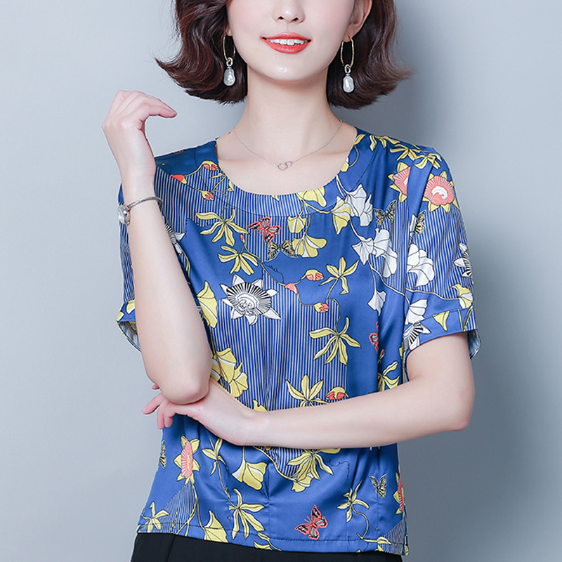 Plus Size Women 39 s Clothing 2019 Summer New O Neck Print women blouse Poplin Loose Fashion Lady Causal Shirt in Blouses amp Shirts from Women 39 s Clothing