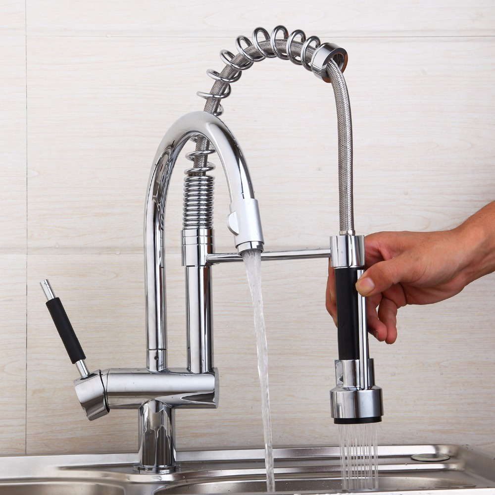 KEMAIDI Modern Chrome Kitchen Mixer Valve Water Taps Pull Out Design ...
