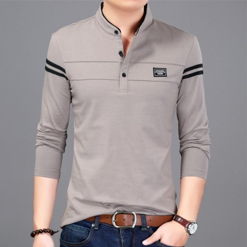 Liseaven Men T Shirt Man Long Sleeve tshirt Men's Clothing Mandarin Collar T-Shirts Tops & Tees Male Tshirts 4