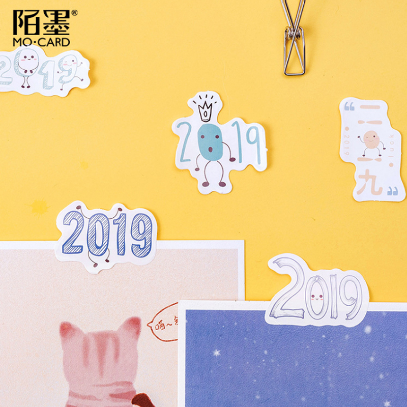 45pcs lot 2019 Cartoon paper sticker Decoration DIY Scrapbooking Sticker kawaii diary label sealing stickers in Stationery Stickers from Office School Supplies
