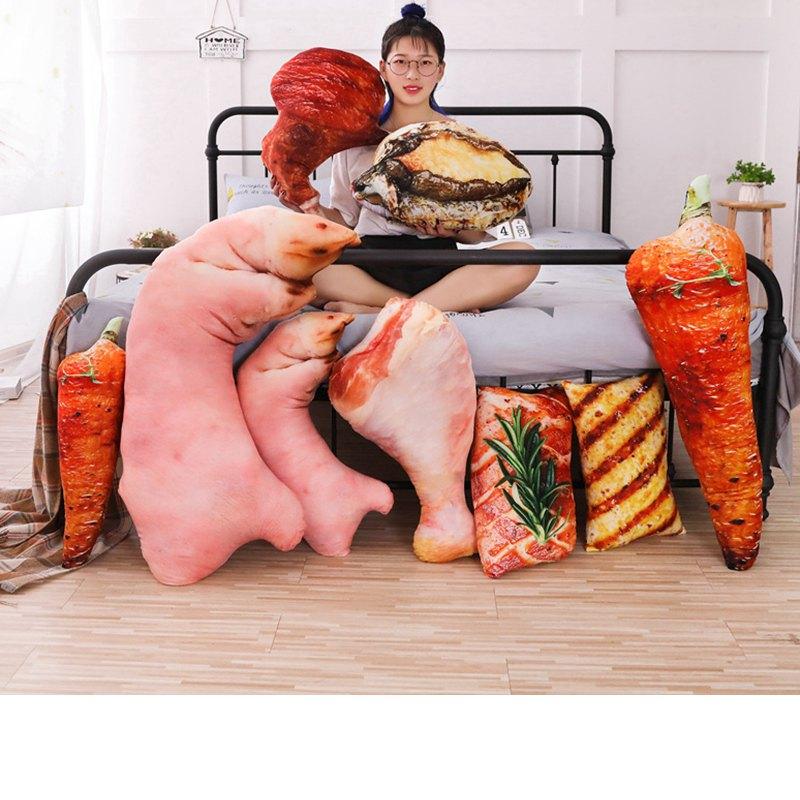 engracado simulacao churrasco travesseiro de pelucia macia dos desenhos animados de animais trotter cenoura chicken