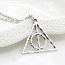 Harry and the Deathly Hallows Potter Pendant Necklace Retro Triangle Round Sweater Chain Necklace Statement Jewelry Gift WD286 chic harry potter da book scroll shape pendant necklace