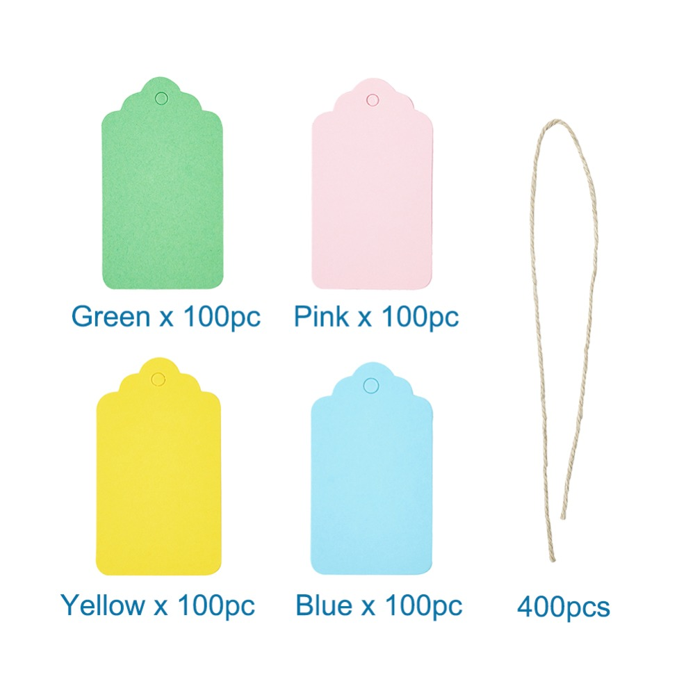 Rectangle Jewelry Display Kraft Paper Price Tags Cotton String Mixed 7.05x4cm