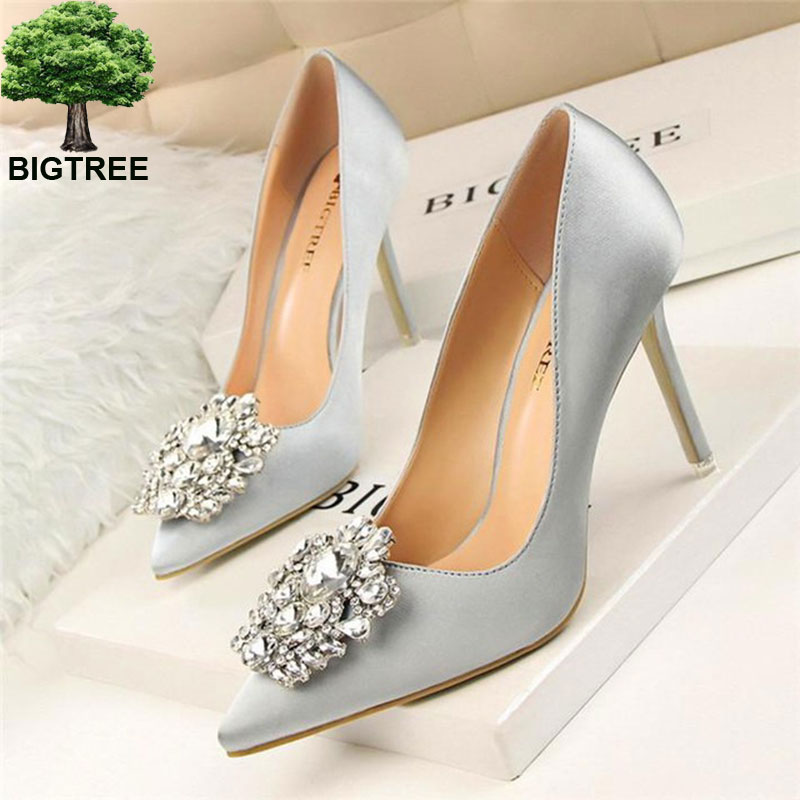 BIGTREE Flower Style Woman Wedding Bridal Shoes Sexy Pointed Toe Women Pumps Fashion Solid Silk Shallow High Heels 10cm Shoes