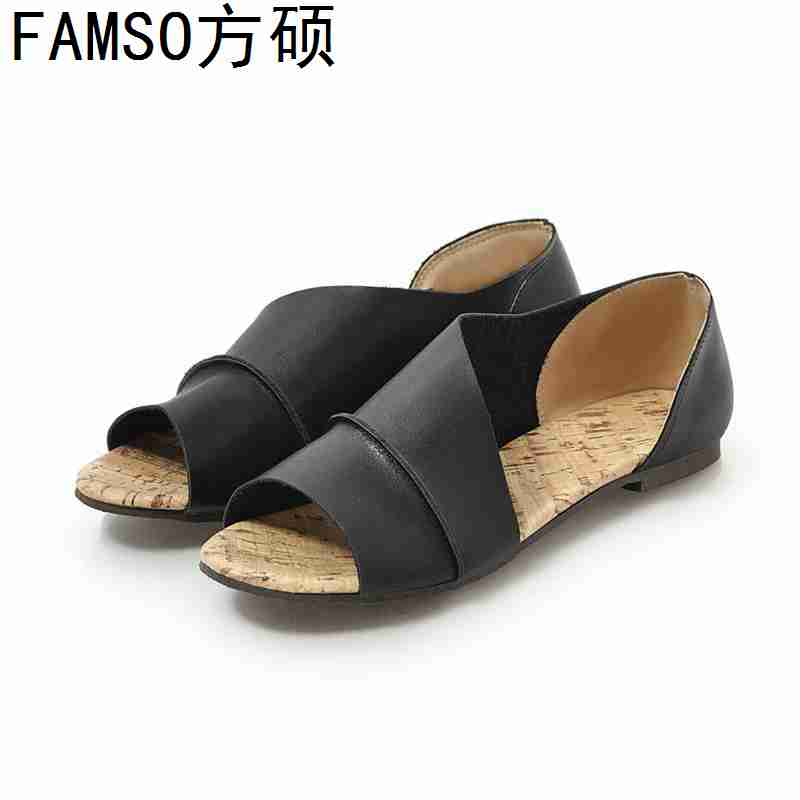 FAMSO 2019 New Shoes For Women Peep toe Black Yellow green Retro Style Flats Heels Sandals