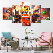 5 pieces LEGO film canvas poster wall art modular children's room mural home decoration wall art(China)