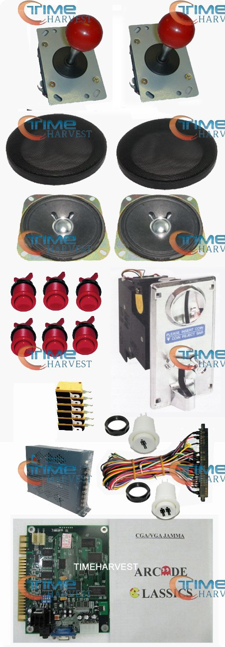 1set Arcade parts Bundles kit With 60 in1 PCB 16A Power Supply Joystick button coin acceptor Harness Speaker for Arcade Machine small condoms vending machine with coins acceptor with 5 choices