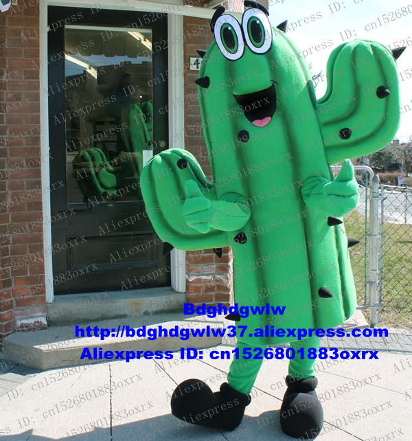 Green Cactus Cacti Cereus Cactaceae Mascot Costume Adult Cartoon Character Outfit Suit Photo Session All Saints Day Zx2464 Large Assortment
