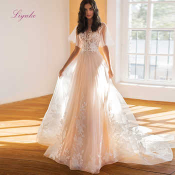 Liyuke 2019 Married A-line Wedding Dress Lace Flower Appliques Pattern Beading Sequins Flare Sleeves Customized - DISCOUNT ITEM  20% OFF All Category
