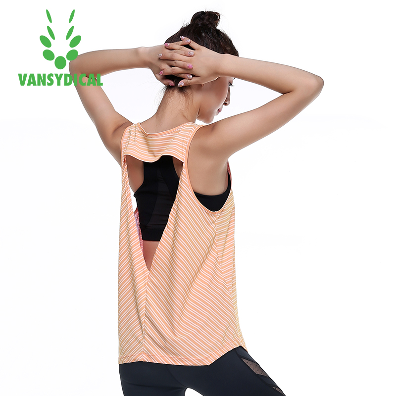 Vansydical Sports Running Vest Women Black Polyester Yoga Sleeveless Breathable Flexible Tank Top Fit Gym Fitness Compression