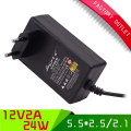 1PCS 12V2A AC 100V-265V Adapter DC 12V 2A 2000mA Power Supply EU Plug 5.5mm * 2.1/2.5mm for LED CCTV