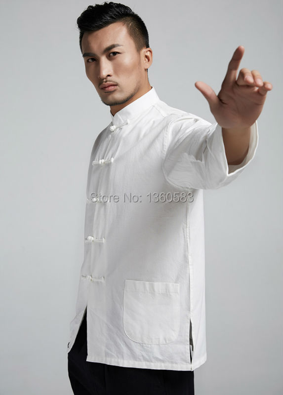 pure cotton male Men's shirt kungfu tai chi martial arts clothing Chinese traditional tang suit man outfit top quality cool