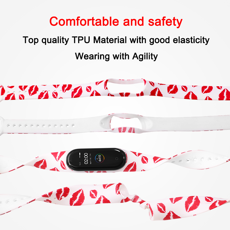 BOORUI Mi Band 4 Strap For Xiaomi Mi Band 4 Accessories Pulsera Inteligente Silicone Beauty Flowers Belt Replacement For M4 Band