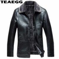 TEAEGG Plus Size 5XL 6XL Black PU Mens Leather Jackets 2017 Winter Faux Fur Comfortable Casual