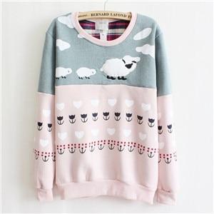 Новинка, Женский пуловер с милой овечкой, с вышивкой, толстый флис внутри, теплые толстовки, розовый и серый цвета, разноцветные толстовки для женщин - Цвет: Pink