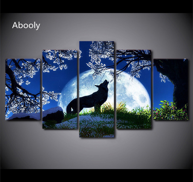 Piece Canvas Wolf Paintings