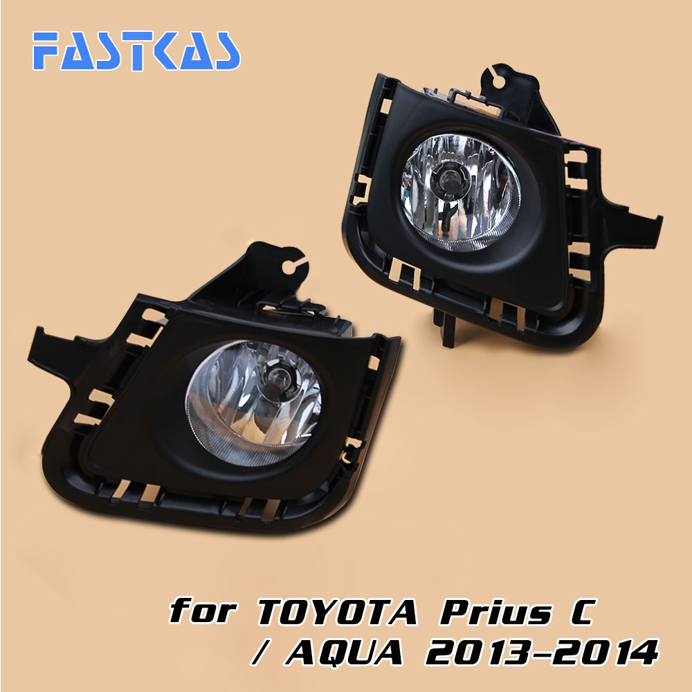 Car Fog Light Assembly for Toyota Prius C / Aqua 2013-2014 Left & Right Fog Lamp with Switch Harness Covers Fog Lamp Kit 12v car fog light assembly for toyota rav4 2013 2015 front left and right set fog light lamp with harness relay fog light