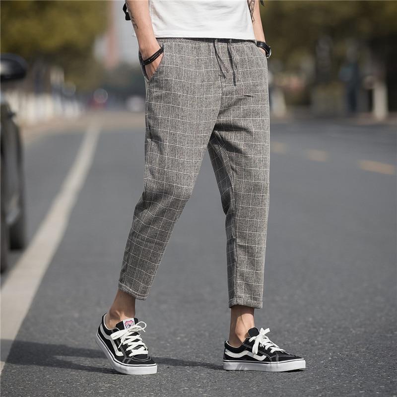 Brand Casual Harem Pants 2019 Summer Linen Plaid Pants Men's Trousers Hip Hop Jogging Sports Pants Street Men's Clothing M-5XL