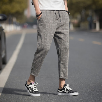 Brand Casual Harem Pants 2019 Summer Linen Plaid Pants Men's Trousers Hip Hop Jogging Sports Pants Street Men's Clothing M-5XL