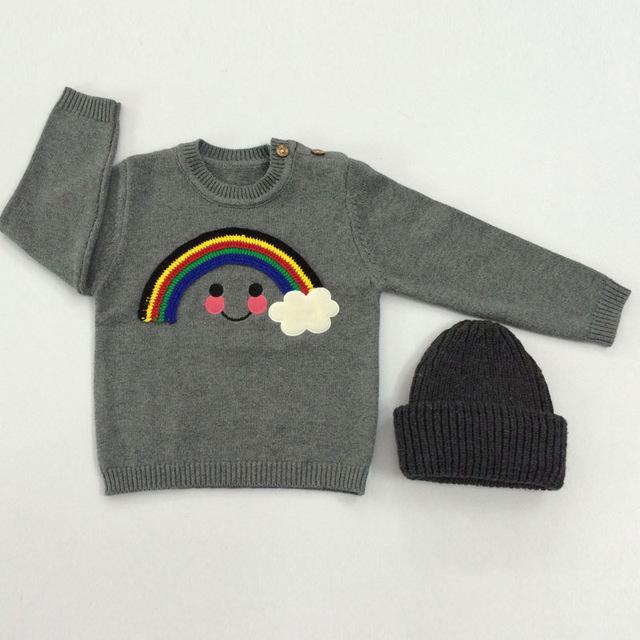 Hot! INS fashion sweaters children's Sweater Baby cotton T-shirt Rainbow smile cloud print for boy girl tops lovely