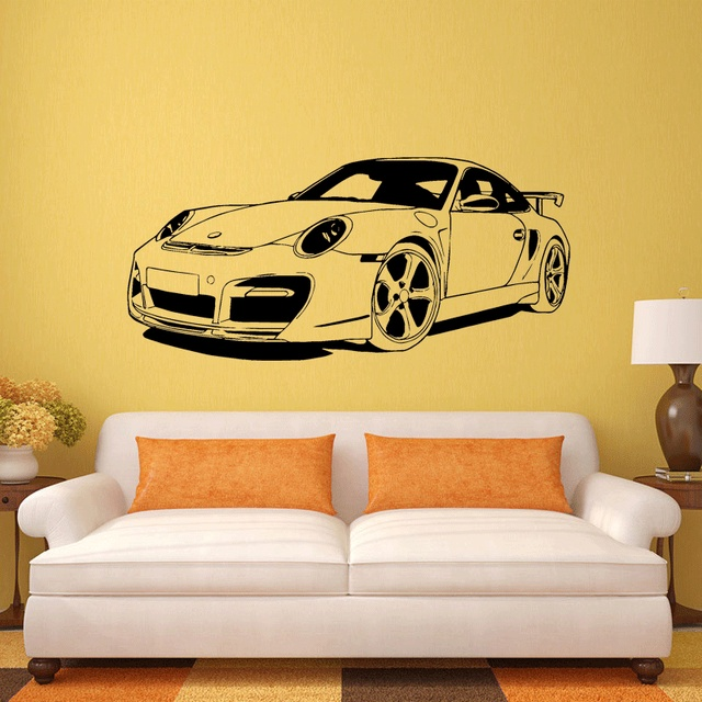 SPORTS CAR Club Vinyl Wall Decal Art Home Decor Sticker Living Room ...