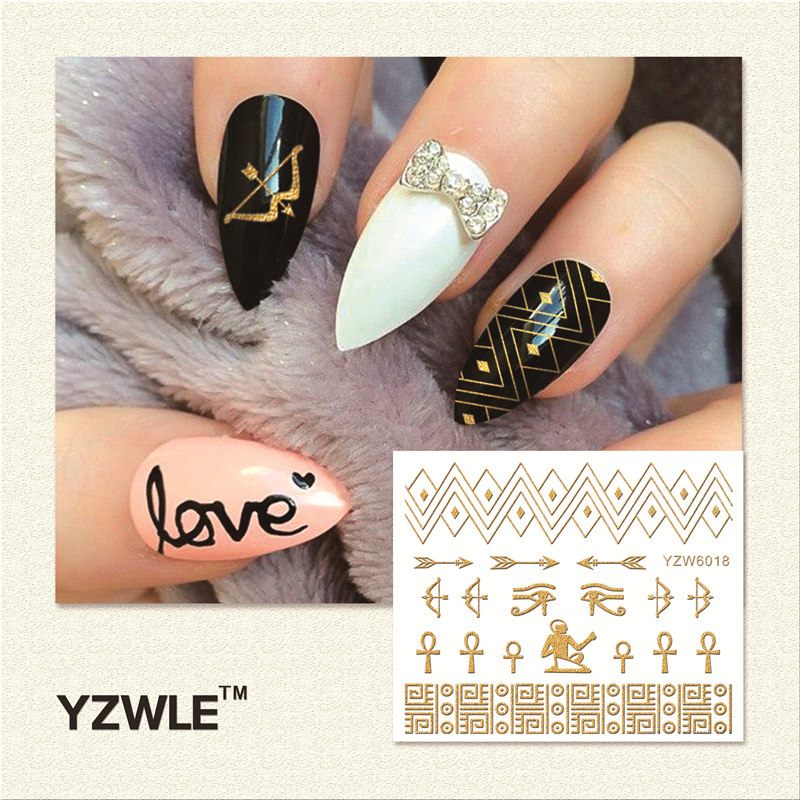 YZWLE 1 Sheet  Hot Gold 3D Nail Art Stickers DIY Nail Decorations Decals Foils Wraps Manicure Styling Tools (YZW-6018) yzwle 1 sheet hot gold 3d nail art stickers diy nail decorations decals foils wraps manicure styling tools yzw 6018