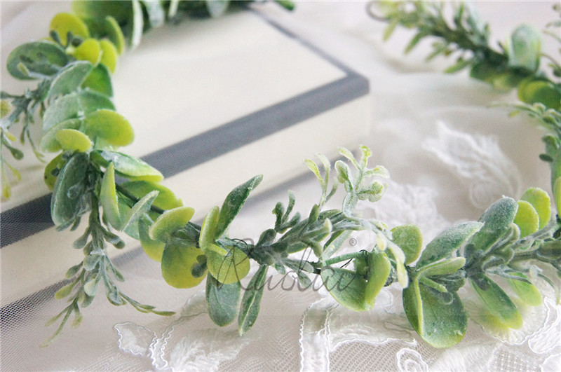 Купить с кэшбэком Green Flower Crown Wedding Headband Bridal Head Wear Leaves Lady Headpiece Boho Wedding Accessories Bridal Hair Wear HD38