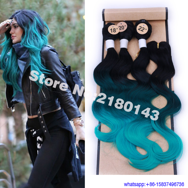 Black Roots Green Hair Weave Synthetic Hair Body Wave 3 Bundles With