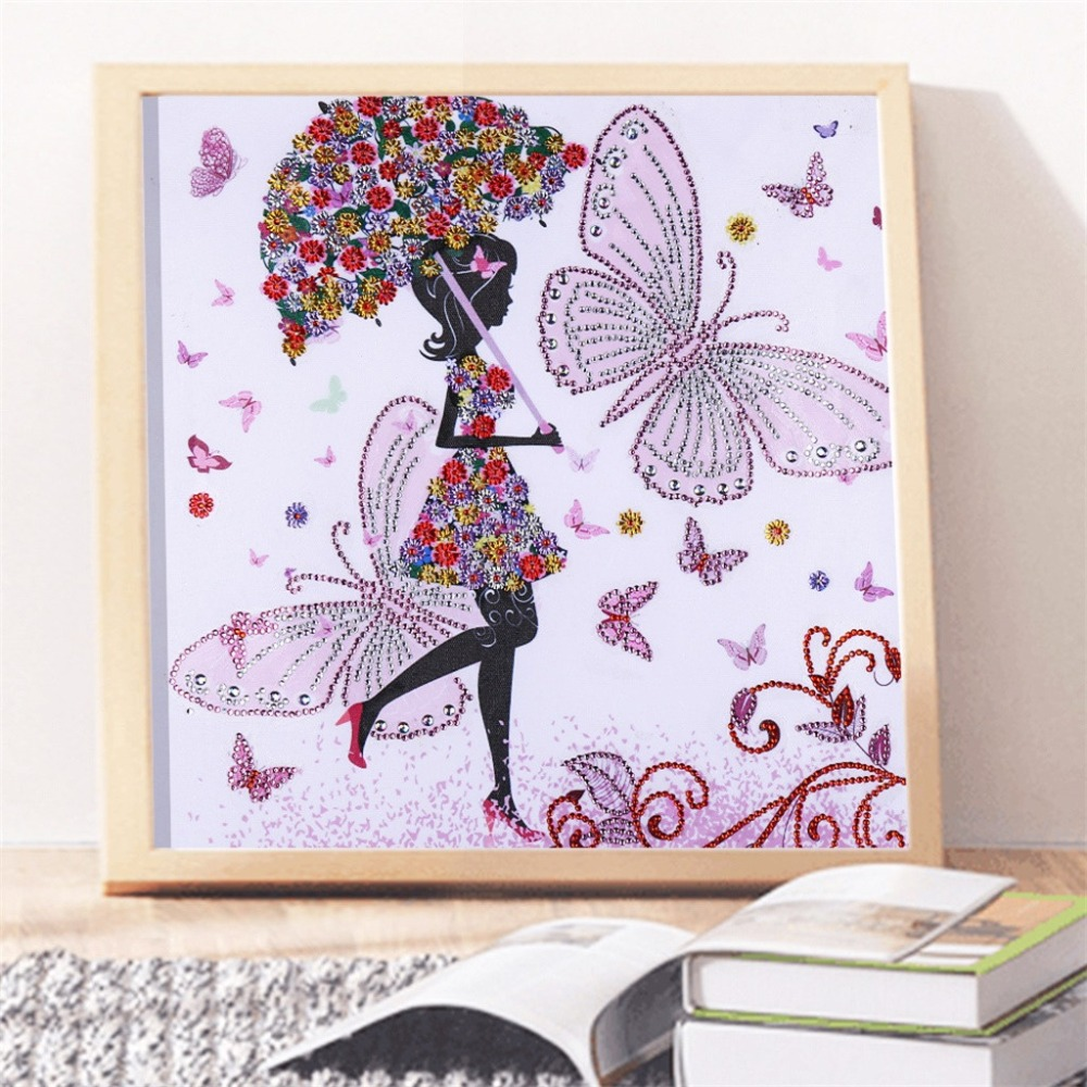 Special Shaped Diamond Painting 5D Diamond Embroidery Cross Stitch Partial Drill Kits Girl Flowers Rhinestone Serial Mosaic Q4