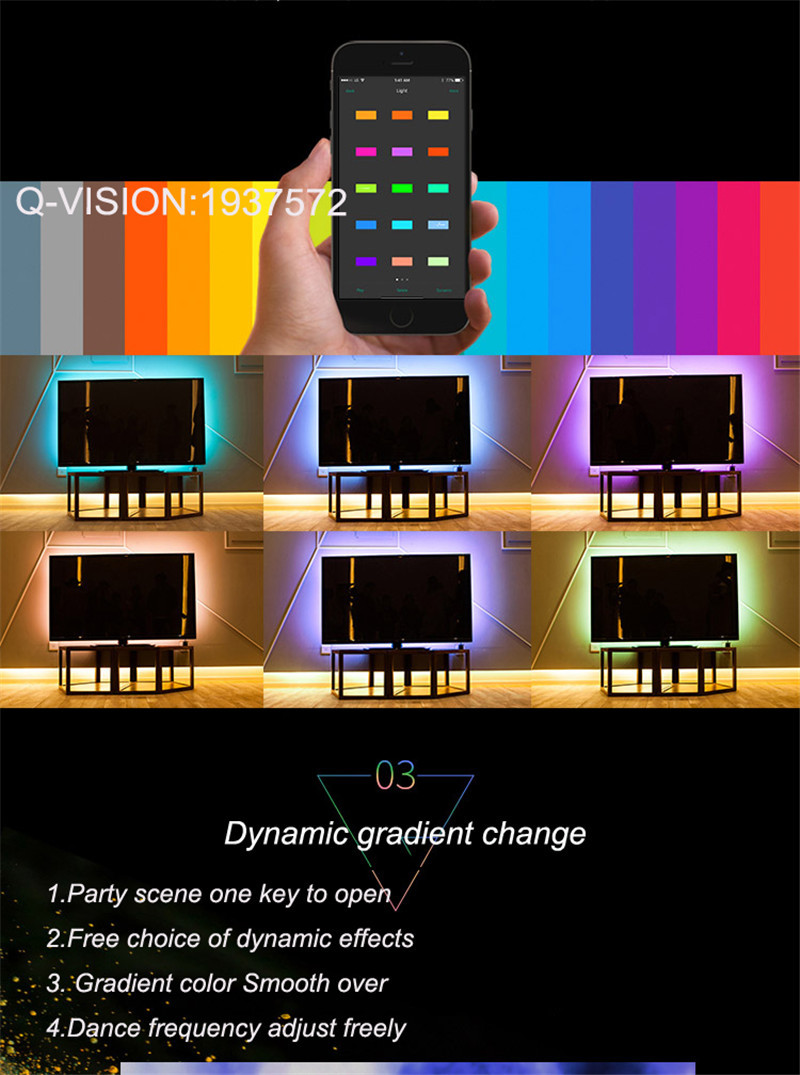 12-Lifesmart New LED Light Strip Wireless Remote Control by Phone16 Million Colors RGB Dimmable Smart Home Automation Customerized