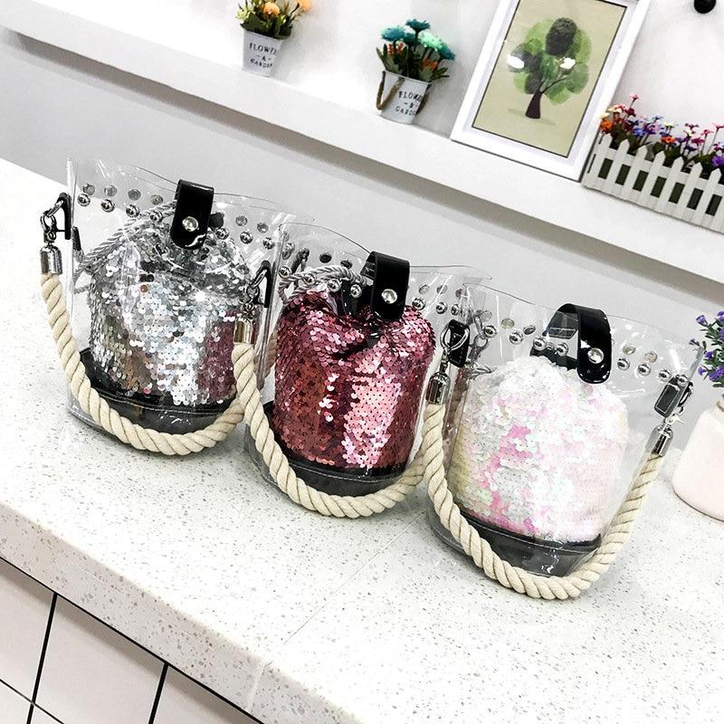 Transparent Plastic Chain Messenger Bag Hip Hop Rock Luxury Handbag Designer Chain 2019 Summer New Women Bag in Top Handle Bags from Luggage Bags