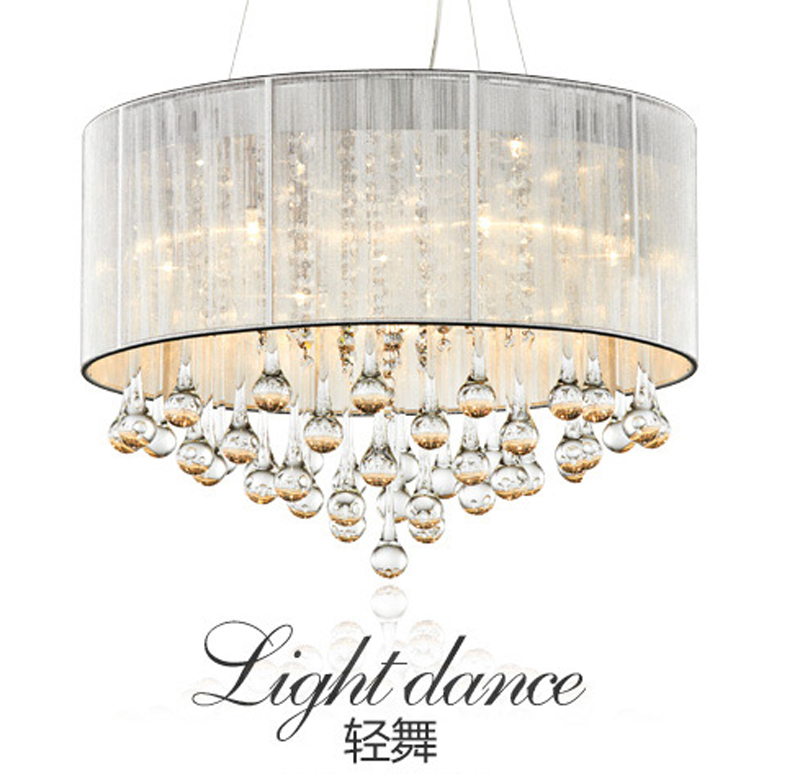 White Fabric Shade Led Modern K9 Crystal Chandeliers 45cm 3 Arms E14 Res De Cristal Chandelier Free Shipping In From Lights Lighting On